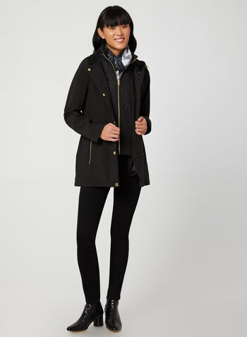 Anne Klein - Hooded Coat, Black, hi-res,  coat, soft shell, soft shell coat, zippered coat, coat with snaps, medium coat, fall 2019, winter 2019