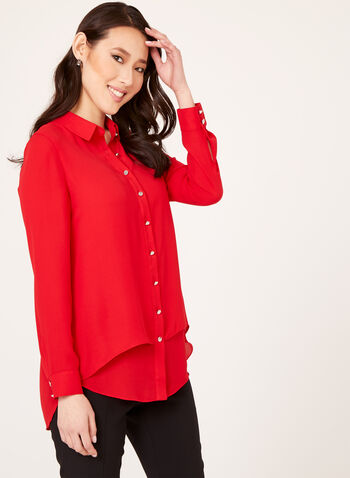 Button Down Crepe Tunic Blouse, Red, hi-res