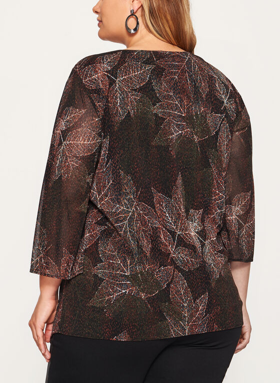 Leaf Print ¾ Bell Sleeve Top , Green, hi-res