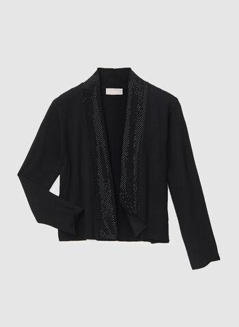 Open Front Bolero, Black, hi-res,  bolero, open front, long sleeves, rhinestones, fall 2019, winter 2019