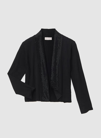 Stone Trim Knit Bolero, Black, hi-res
