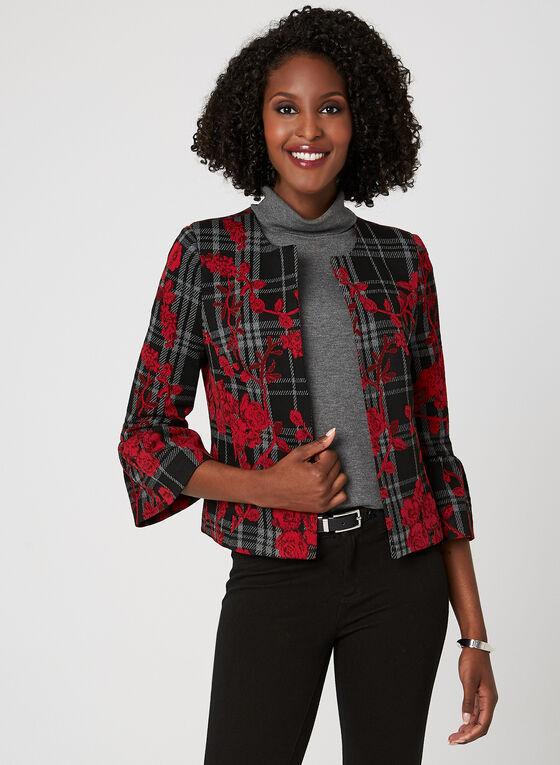 Rose & Glen Check Print Jacket, Black, hi-res