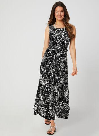 Nina Leonard - Robe texturée à motif carrés, Noir, hi-res,  robe de jour, sans manches, col dégagé, carrés, texturée, ajustée et évasée, printemps été 2019