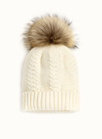Cable Knit PomPom Hat, , hi-res