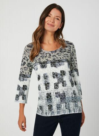 Mixed Burnout Print T-Shirt, Black, hi-res,  mixed print top, leopard print, floral print, animal print, prince-of-wales print, burnout t-shirt, top, blouse