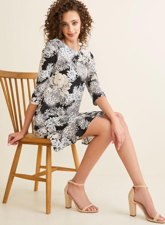 Ruffled Hem Floral Dress, Black