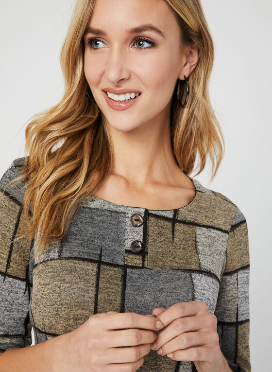Geometric Print Knit Top, Multi, hi-res