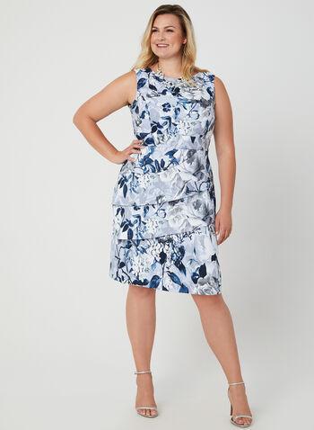 Robe ajustée à imprimé floral, Argent, hi-res,  sans manches, volants, encolure ronde, fleurs, motif, motifs, jupe étagée