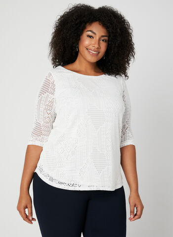 Jacquard Mesh Top, Off White, hi-res,  Canada, top, 3/4 sleeves, jacquard knit, spring 2019, summer 2019