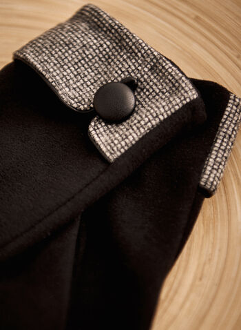 Cuffed Tweed Detail Gloves, Black,  fall 2021, accessory, accessories, gloves, glove, tweed, button, polyester, detail