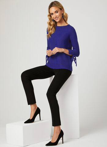 Ribbed Knit Tie Detail Sweater, Blue, hi-res