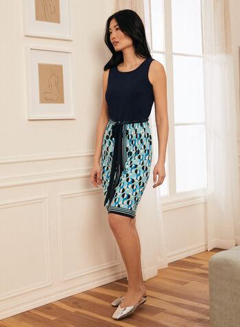 Monochrome & Geometric Print Dress, Blue,  dress, day, sleeveless, jersey, geometric print, belted, spring summer 2021