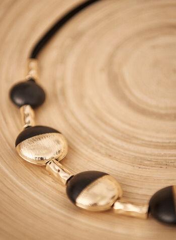 Collier à pierres rondes bicolores, Noir,  accessoires, bijoux, collier, cordes, pierres rondes bicolores, fermoir homard ajustable, automne hiver 2021
