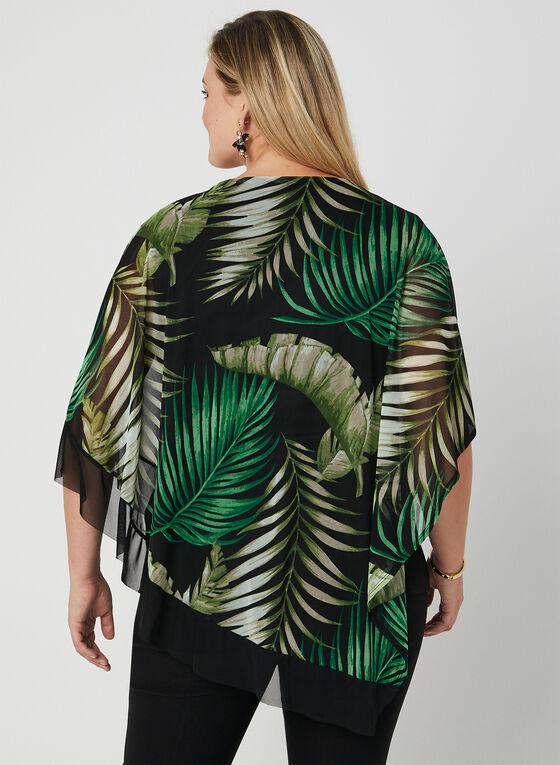 Tropical Print Poncho Blouse, Green