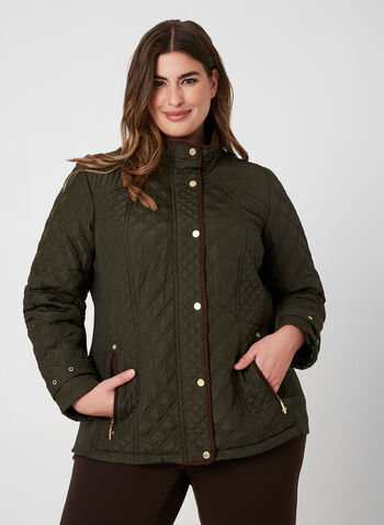 Weatherproof - Quilted Coat, Green, hi-res,  fall winter 2019, quilted coat, long sleeves