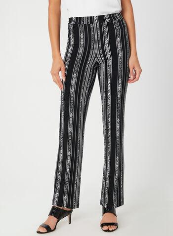 Pantalon rayé coupe moderne, Noir,  pantalon, moderne, jambe droite, rayures abstraites, jersey, automne hiver 2019