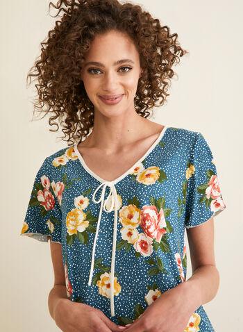 Hamilton - Pyjama 2 pièces tacheté et fleurs, Bleu,  pyjama, haut, manches courtes, fleurs, taches, lien, ourlet volanté, pantalon, jersey, printemps été 2020