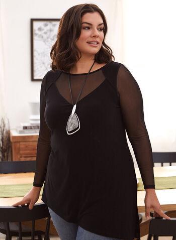 Asymmetrical Illusion Neck Tunic, Black,  made in Canada, top, tunic, blouse, illusion neckline, sheer, long sleeves, slit, asymmetrical, fall winter 2021