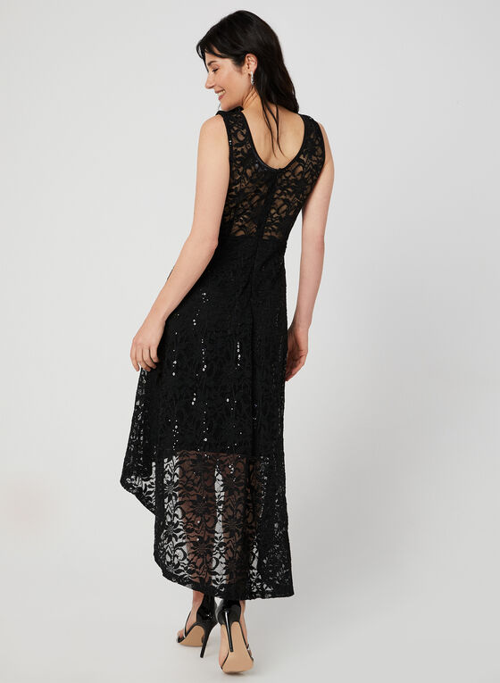 Sequin Lace High Low Dress, Black, hi-res