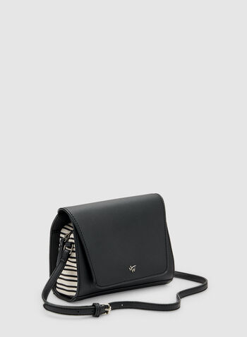 Stripe Print Crossbody Bag, Black, hi-res,  faux leather, spring 2019