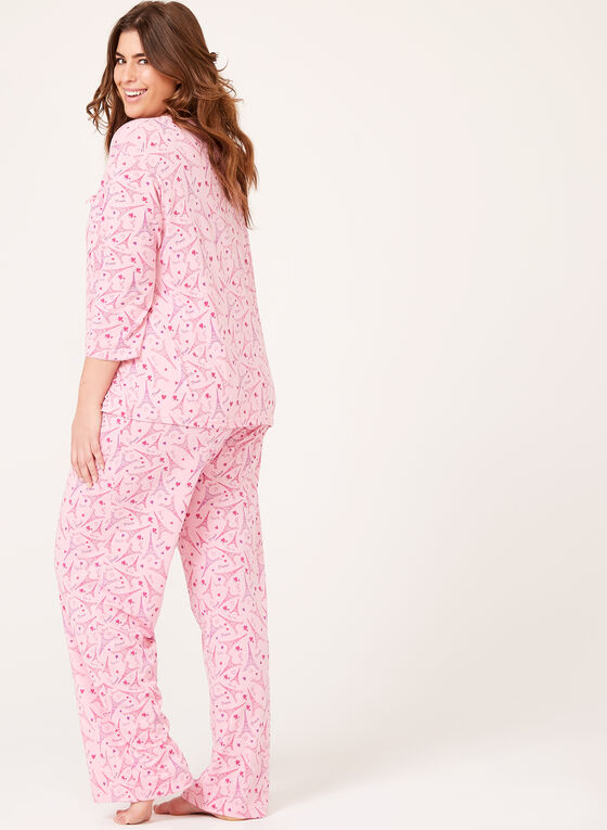 Bellina - Eiffel Tower Print Pajama Set, Pink, hi-res