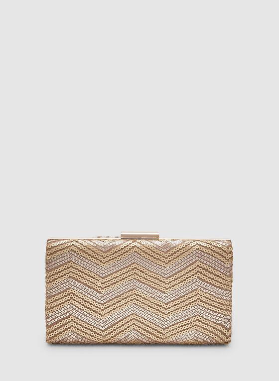 Sequin Box Clutch, Off White, hi-res