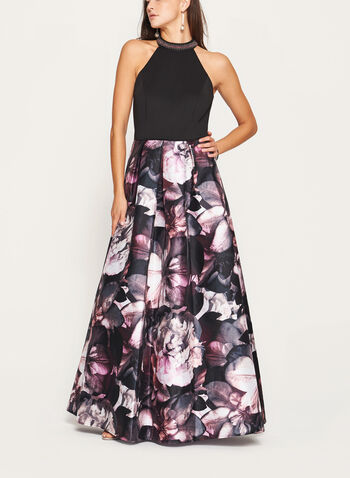 Floral Print Cleo Beaded Neck Gown , Black, hi-res