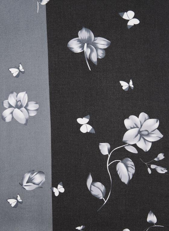 Écharpe florale deux tons, Gris, hi-res