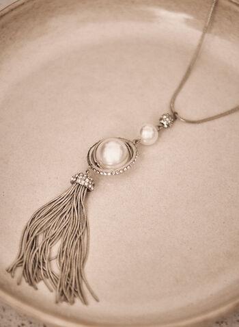 Collier en Y étagé à perles, Blanc cassé,  collier, accessoire, bijou, long, cristaux, perles, cascade, argent, collier en Y, étagé, automne 2021