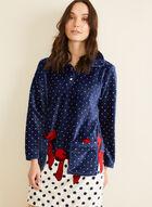 Karmilla Lingerie - Polka Dot Print Plush Nightgown, Blue