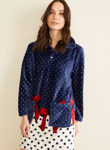 Karmilla Lingerie - Polka Dot Print Plush Nightgown, Blue,  nightgown, sleepwear, pyjama, polka dot print, plush, holidays, fall 2019, winter 2019
