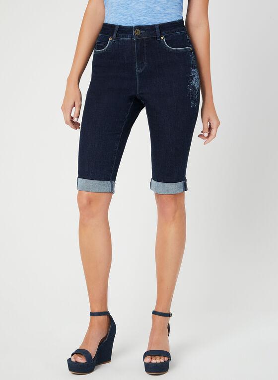 Short en jean avec broderies florales, Bleu