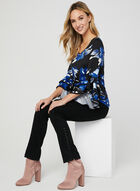 Floral Print Ruffle Sleeve Top, Black, hi-res