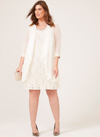 Glitter Lace Dress & Duster Set, Off White, hi-res