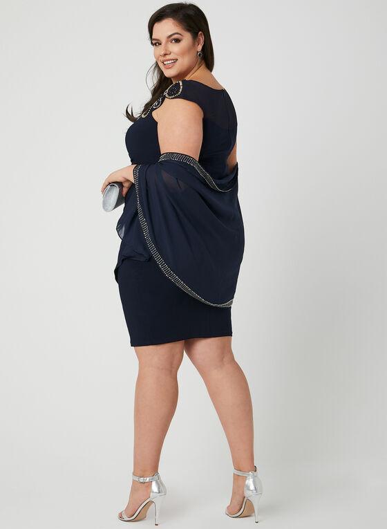 Embellished Scarf, Blue, hi-res