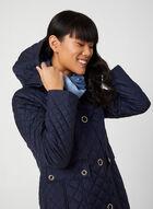 Anne Klein – Manteau matelassé à détails dorés , Bleu