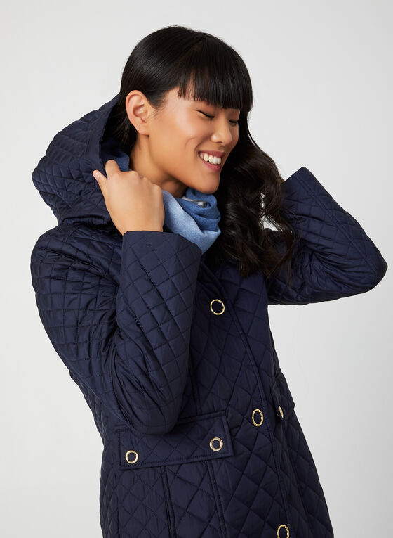 Anne Klein - Hooded Diamond Quilt Coat, Blue