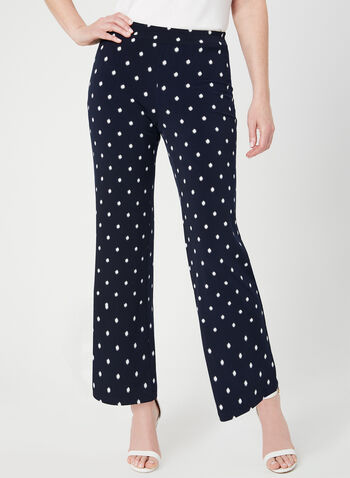 Modern Fit Wide Leg Pants, Blue, hi-res,  Canada, Modern Fit, wide leg, pull-on, elastic waist, dot print, spring 2019, summer 2019