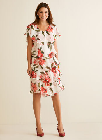 Floral Print Tiered Dress, White,  cocktail dress, tiered, chiffon, short sleeves, v-neck, floral, spring summer 2020
