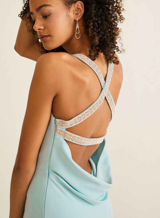 Rhinestone Detail Apron Neck Gown, Blue
