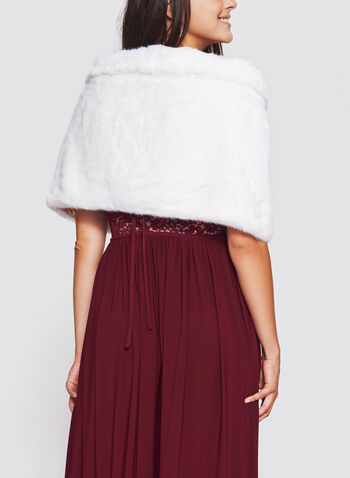 Faux Fur Stole, Off White, hi-res
