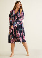Floral Print Nightshirt & Robe, Blue