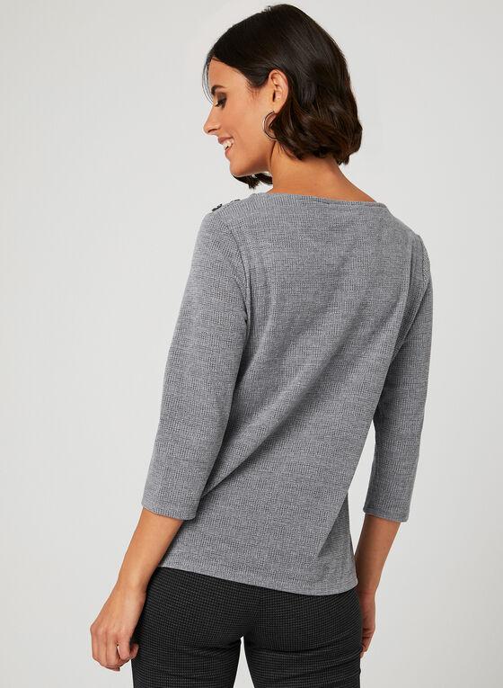 Pull en tricot fin et détails boutons, Gris, hi-res