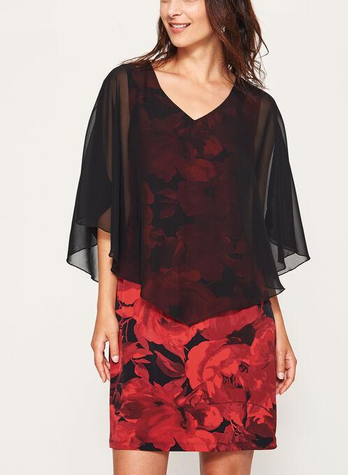 Robe à fleurs avec poncho en mousseline, Rouge, hi-res