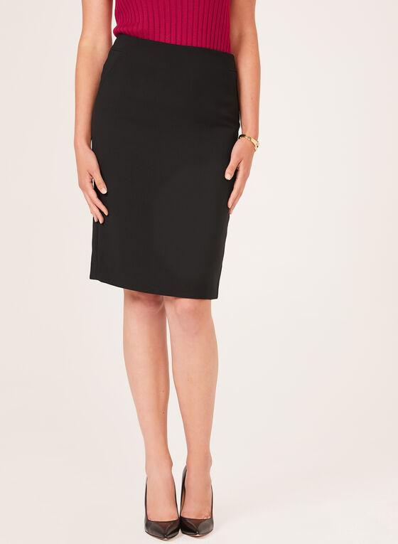 Back Slit Pencil Skirt, Black, hi-res