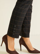 Windowpane Print Pull-On Pants, Black