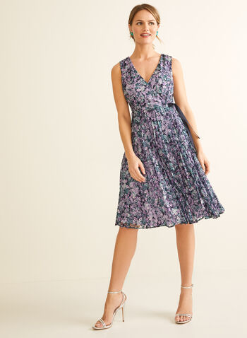 Floral Print Lace Dress, Blue,  spring summer 2020, sleeveless, V-neck, lace, floral print, fit & flare