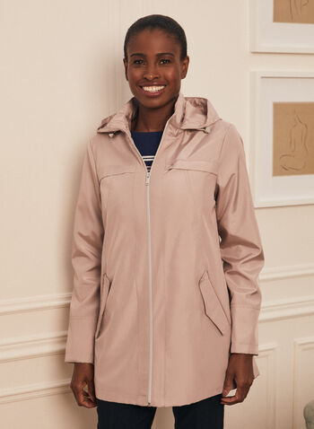 Removable Hood Raincoat, Pink,  coat, raincoat, outerwear, removable hood, zip front, flap pockets, spring summer 2020