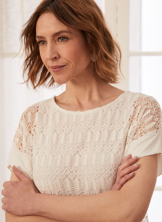 Layered Crochet Top, Off White