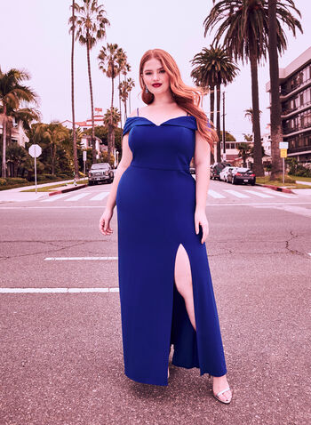 Off The Shoulder Gown, Blue, hi-res